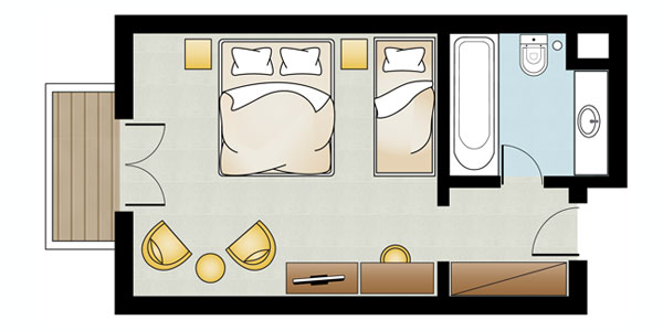 Double Triple Guestroom Floorplan